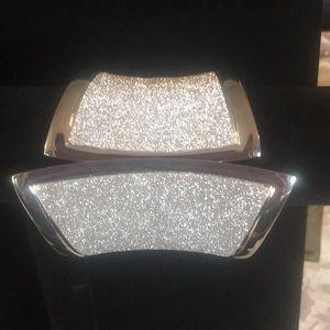 Bebe silver glitter hinged cuff bracelet